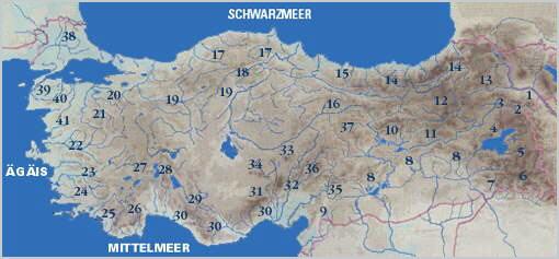 Türkei Landkarte mit Bergen