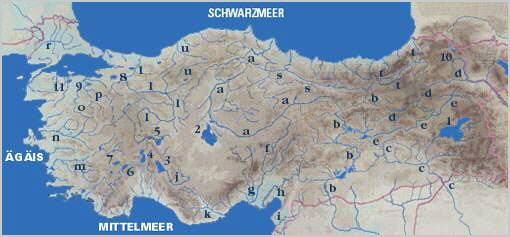 Türkei Landkarte mit Gewässern