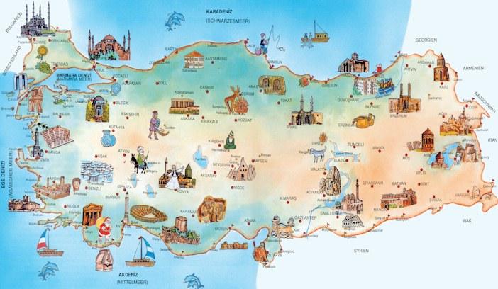 Türkei Landkarte mit historischen Sehenswürdigkeiten