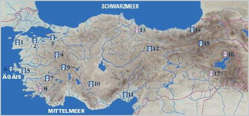 Türkei Landkarte mit Thermalzentren