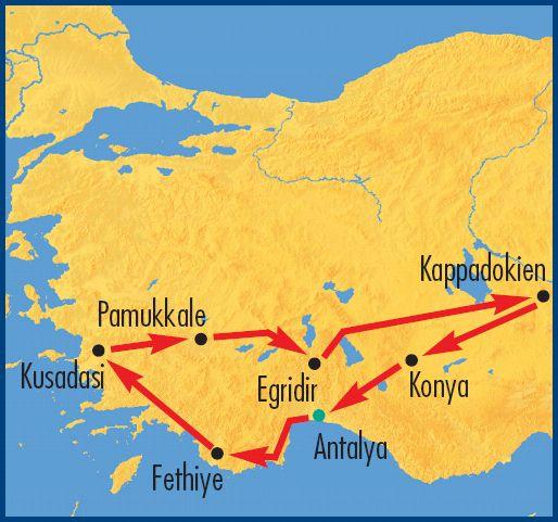 Reiseroute der Türkei-Rundreise